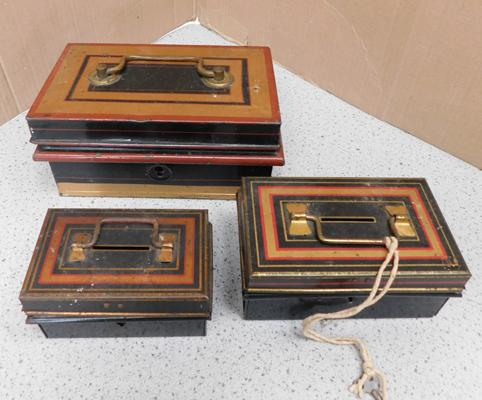 3 x vintage cash tins (one with key)
