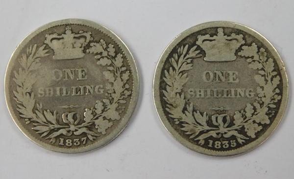 2 x silver shillings - William IV 1835 & William IV 1835, very low mintage, scarce