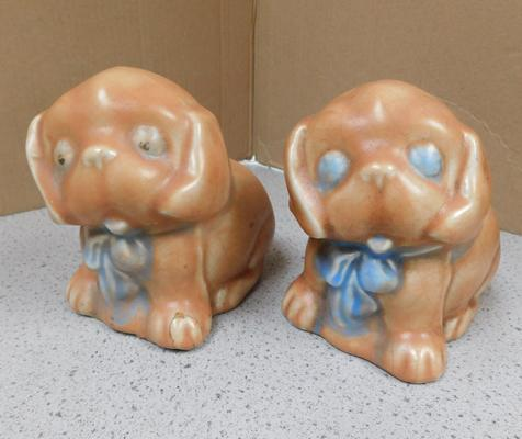 Antique pair of dogs, one repair to foot, approx. 4.5 inches in height