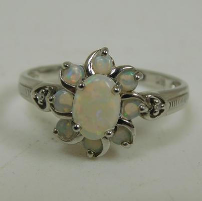 925 Silver opal cluster ring size P 1/2