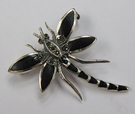 Silver & marcasite dragonfly brooch