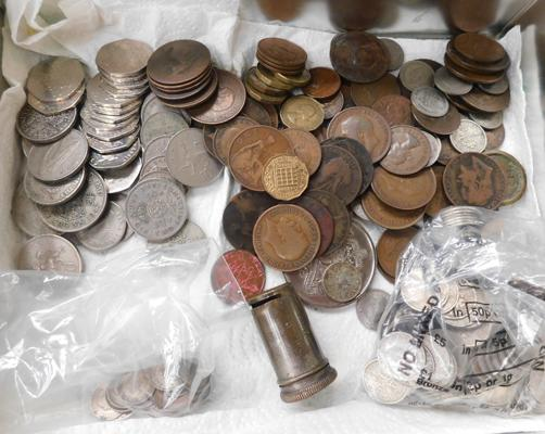Box of English coins & sixpence holder