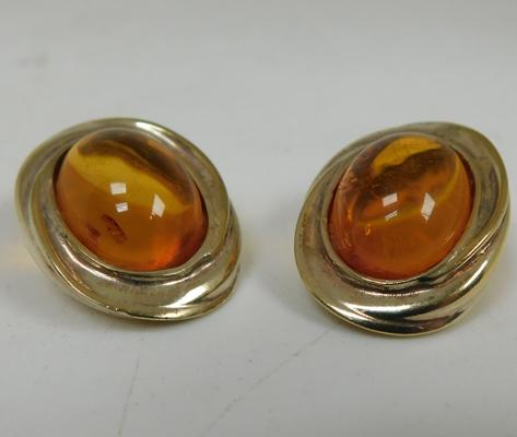 Pair of large silver & amber earrings-London hallmark