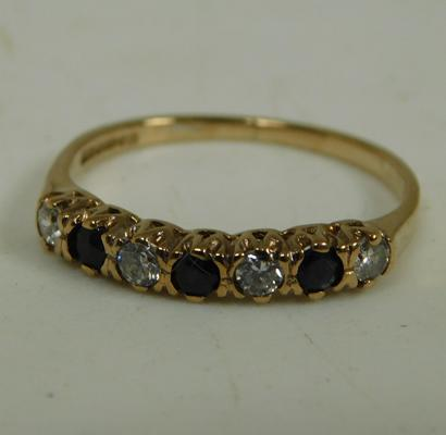 9ct Gold sapphire eternity ring size K 1/2