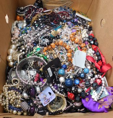 Large heavy box of mixed costume jewellery