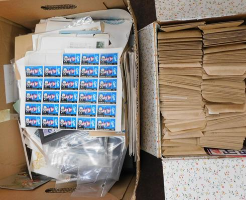 Box containing approx 130+ envelopes, stamps + large carton of World stamps