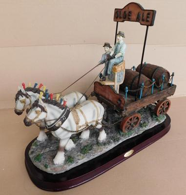 Large two horse & dray Olde Ale ornament on wooden base, no damage (approx. 20 inches), shop display