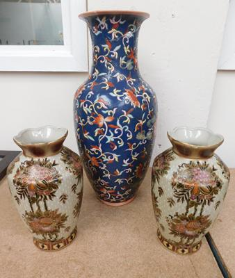 Pair of Chinese vases, red cup logo, + Cloissonne style antique vase, damaged