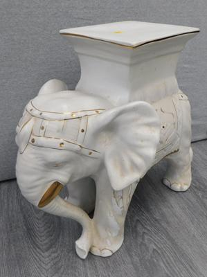 Ceramic elephant with plant stand - no damage found- approx. 15 inches tall