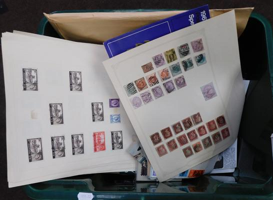 Plastic carton containing quantity of stamps, presentation pack, penny reds, earlier material etc