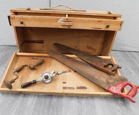 Wooden tool box with hand drill, brace, chisels, pliers etc...