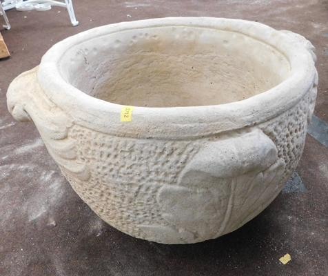 Stone urn planter with two handles