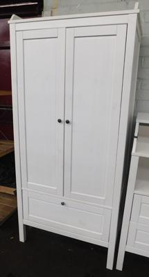White childrens wardrobe with drawer section