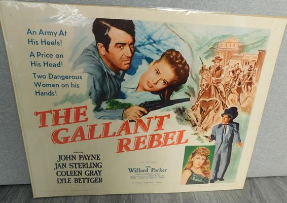 Film poster on card The Gallant Rebel approx 22x28""