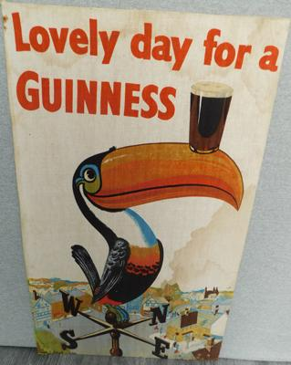 Lovely day for a Guinness-cloth on card poster approx 18x29""