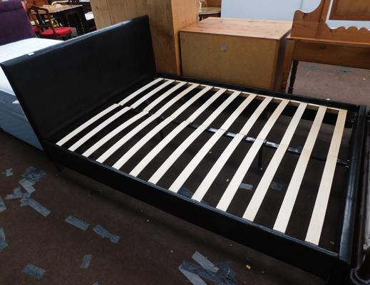 Leather effect black double bed frame