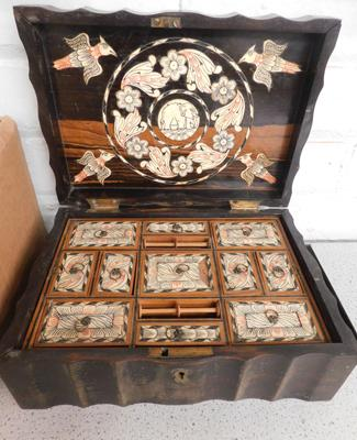 Detailed sewing box with two layers, no key, slight damage