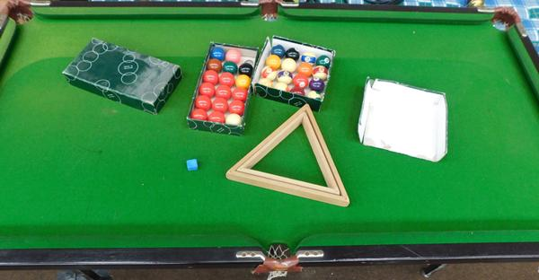Snooker/pool table & balls, folding legs, approx. 61 inches x 31 inches