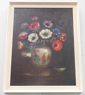 Oil painting-flowers in a vase approx 20x16""