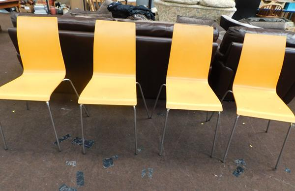4x Yellow painted stacking chairs