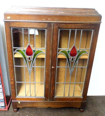 Glass leaded cabinet-with key