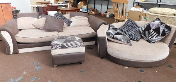 Large three seater settee & large corner armchair + pouffe