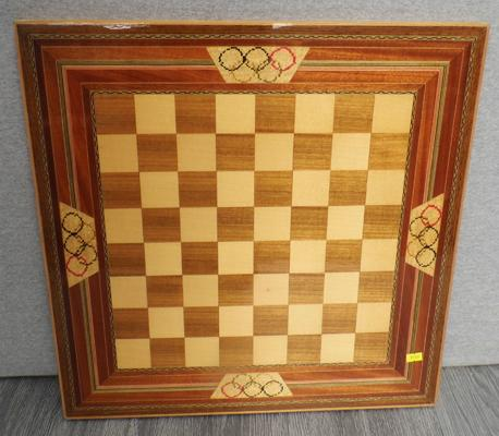 Inlaid Olympic wooden chess board