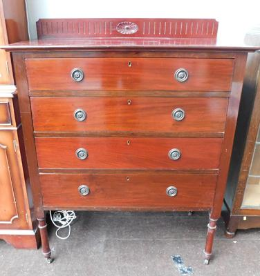4 Drawer mahogany coloured  set of vintage wooden drawers