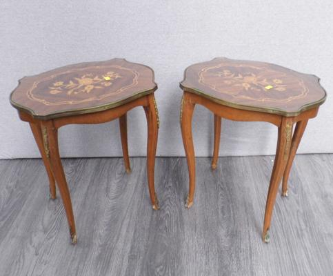 Pair of inlaid side tables with brass details
