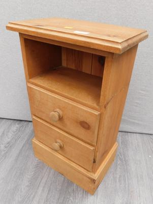 Two drawer bedside cabinet in pine