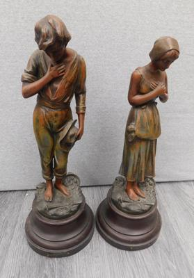 2 x metal figurines, approx. 18 inches tall