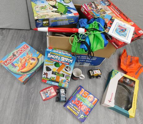 Box of new items -  mainly toys, bags and games