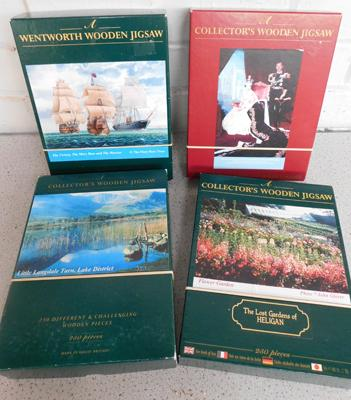 4 x Wentworth collectors wood jigsaws, all complete - Maryrose, Heligan, Langdale, Queen