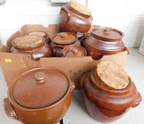 Large selection of stoneware pots