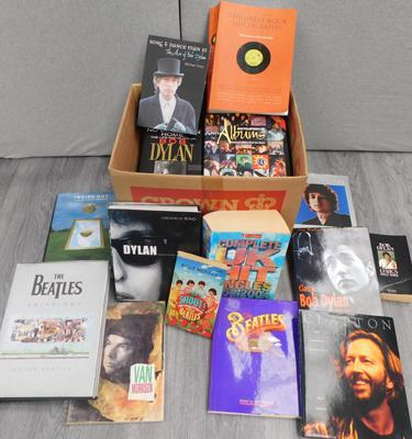 Large box of music books, incl. Beatles, Clapton, Dylan