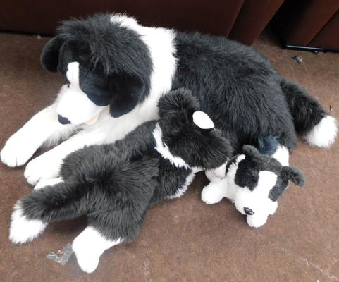 Family of large Border collies-stuffed toys
