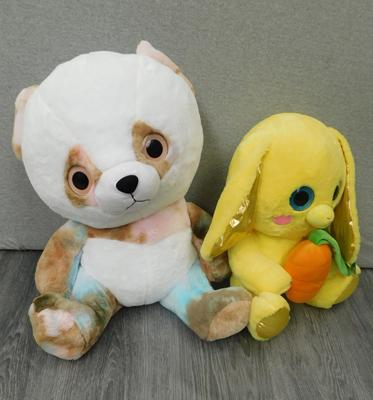 2 x large soft toys - one Glitter Bunny & one Paws