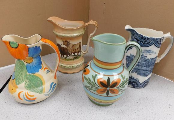 Four collectable jugs incl. Wadeheath, Staffordshire & signed Studio