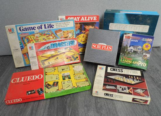 Assortment of vintage board games