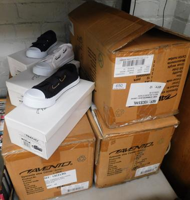 3 x boxes (33 pairs) of childrens trainers/pumps - various sizes & colours