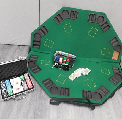 Folding poker table in case, boxes of chips & packs of sealed cards