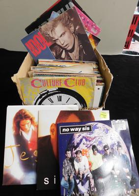 Box of records, mixed picture sleeves