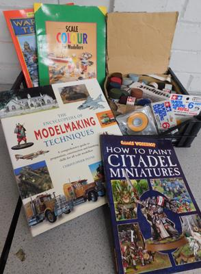 Assortment of paints & model making/painting books