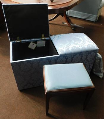 Split top bedding box with dressing table stool