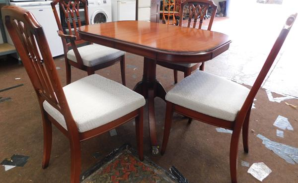 Inlaid extending table + 4 chairs