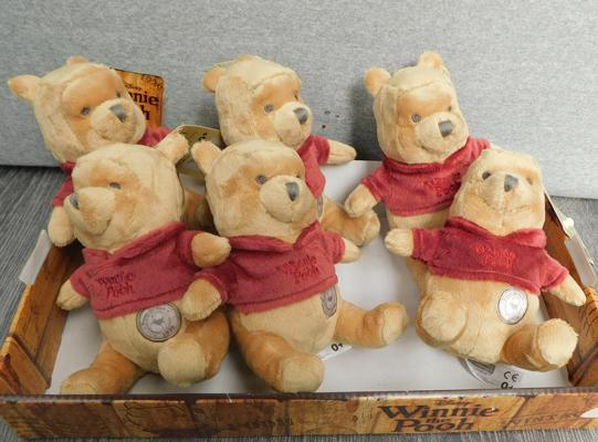 Tray of 6 Winnie the Pooh soft toys-with tags
