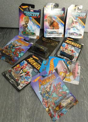 9x Hot Wheels inc Simpsons. Guardians of the Galaxy & Avengers