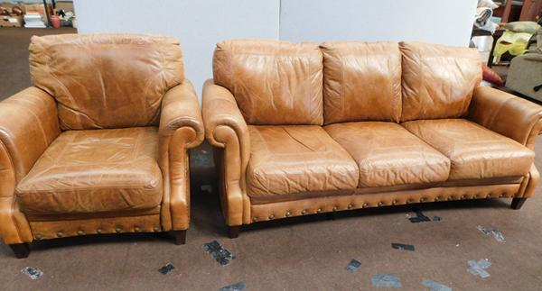 Tan three seater leather settee with armchair