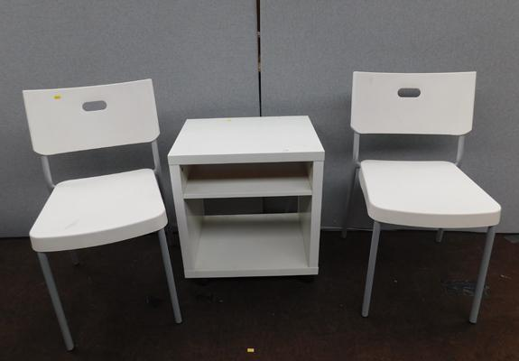 2x White Ikea chairs + small cabinet table