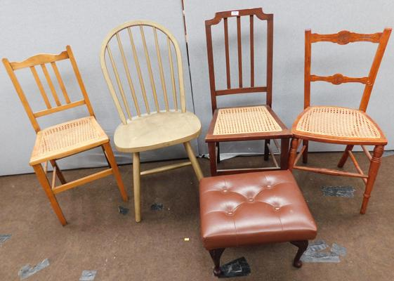 Selection of 4 chairs + footstool